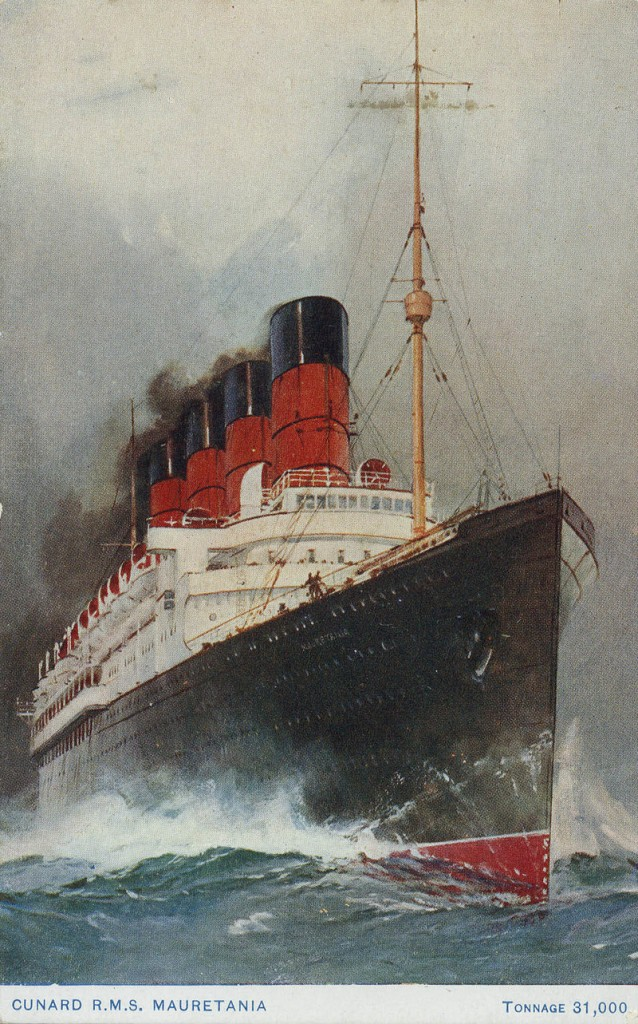 A 1909 publicity postcard of Cunard's Mauretania (1907-36), which was the fastest ship on the North Atlantic for two decades.