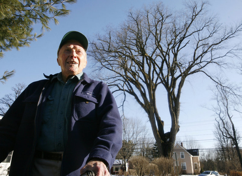 "Frank Knight stands in front of what was then New England's oldest elm tree, ""Herbie,"" in 2009. Knight took care of Herbie for five decades, and when the diseased tree had to be cut down in 2010, he said, ""Nothing lasts forever. We had a great, beautiful relationship."""