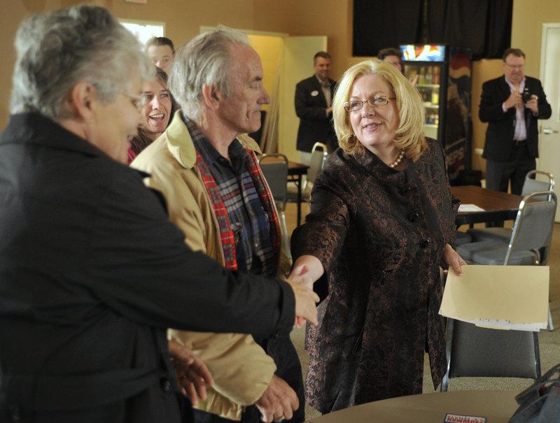 State Sen. Debra Plowman, right, officially kicks off her U.S. Senate campaign April 27 in Lewiston.