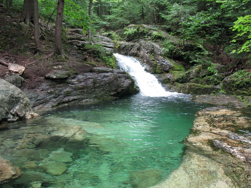 Rattlesnake Pool is on a trail spur off the Stone House Trail on Blueberry Mountain. The water is incredibly clear and deep.