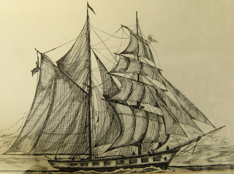 This etching by James Lane Berkeley depicts the Dash, a topsail schooner built in Freeport by the Porter family. The Dash was one of the most successful privateers that operated out of Casco Bay during the War of 1812, capturing 15 British vessels and their cargoes while prowling the Atlantic.