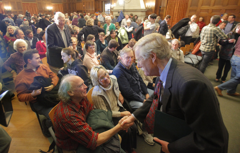 Angus King greets supporters after announcing that he would run for the U.S. Senate this year.