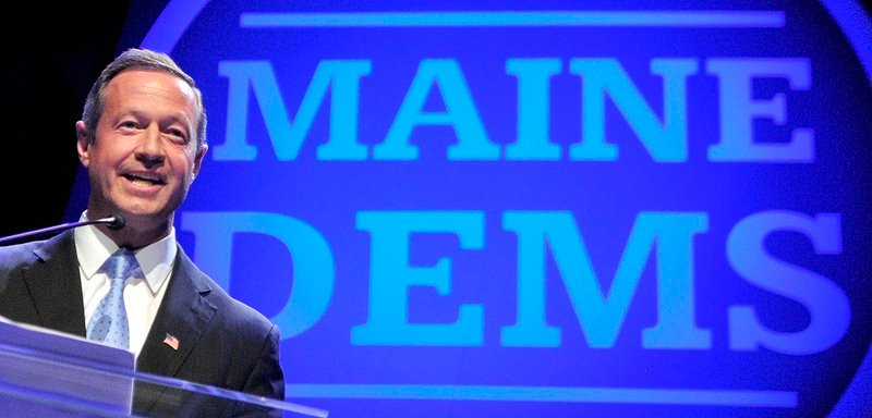 Maryland Gov. Martin O'Malley gives the keynote address at the Maine Democratic convention Saturday at the Augusta Civic Center.