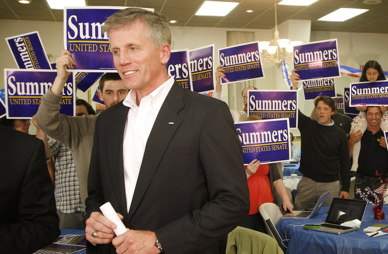 GOP U.S. Senate candidate Charlie Summers talks to members of the media as his supporters gather around him on Tuesday, June 12, the day of the Republican primary election.