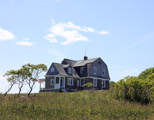 This photographs made available by LandVest Inc. shows one of the structures on House Island in Casco Bay.