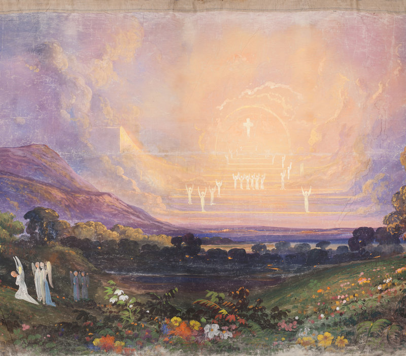 """Artists Joseph Kyle and Edward Harrison May developed the idea for the panorama in 1848, working with a number of other artists, including Frederic Edwin Church, to provide designs for major scenes. Among the images on the scroll are """"They Lose Their Way in the Valley of the Shadow of Death"""" by Daniel Huntington."""