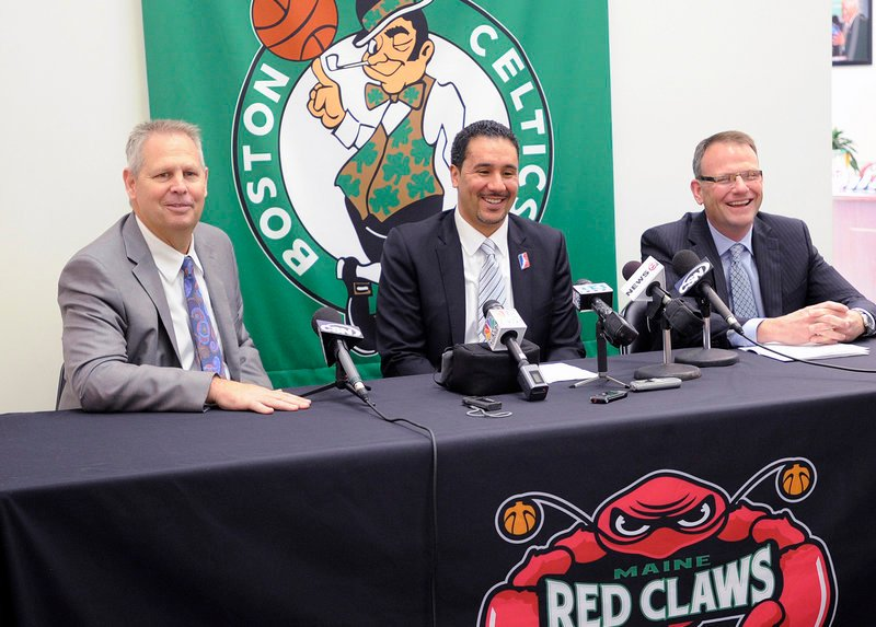 From left, Danny Ainge, the Celtics president of basketball operations, Dan Reed, NBA Development League president, and Bill Ryan Jr., co-owner of the Maine Red Claws, announce a three-year single-affiliation agreement between the two teams Thursday at the Red Claws front office in Portland.