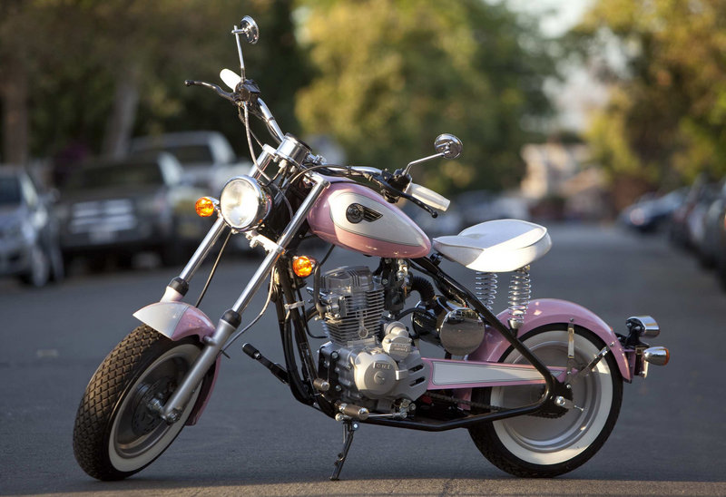 California Scooter Co. makes the Babydoll, an entry level bike patterned after a 1947 Mustang, with a tractor seat and white wall tires. All the company's motorcycles weigh 240 pounds to appeal to women who want a less heavy bike.