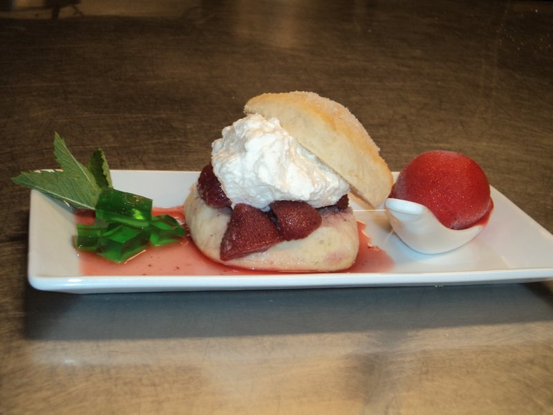 At Sea Glass at Inn by the Sea, Karen Toner is serving strawberry shortcake with a twist.