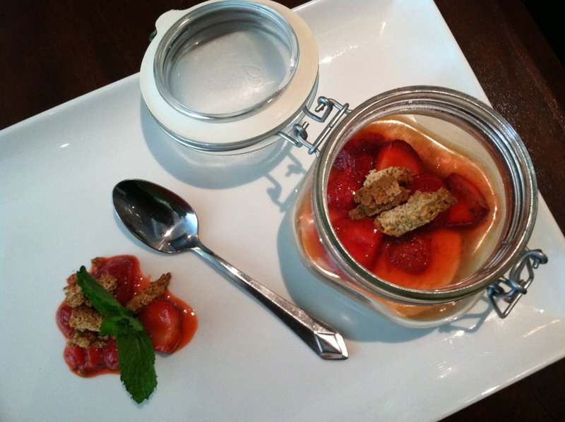 Tim Pierre Labonte quickly grills the strawberries for this dessert of panna cotta and rosemary oat clusters.
