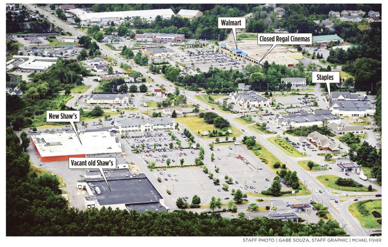 This aerial view looking south shows the stretch of Route 1 in Falmouth that is home to large commercial buildings.