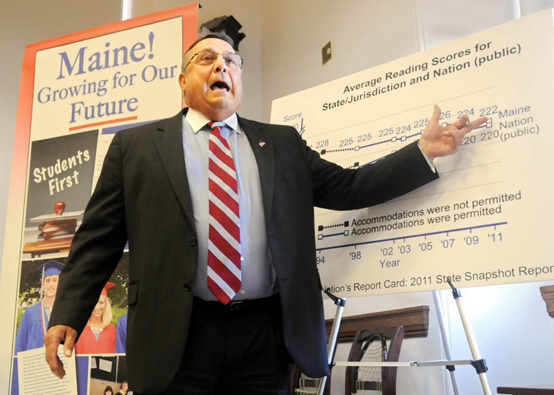 Gov. Paul LePage talks during a press conference about a proposed education rule on Wednesday in Augusta.
