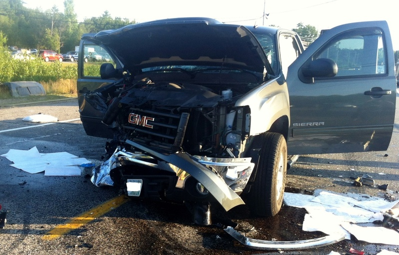 A GMC truck was one of four vehicles damaged in an accident on Route 202 in Lebanon. Police say the GMC truck struck a Malibu that was stopped to make a left turn.