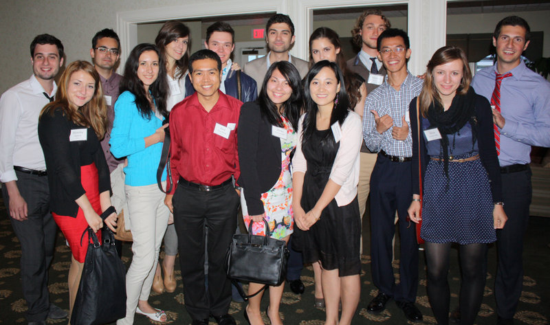 Among the more than 100 Summer in Maine interns at the dinner were these students who are spending the summer at CIEE in Portland.
