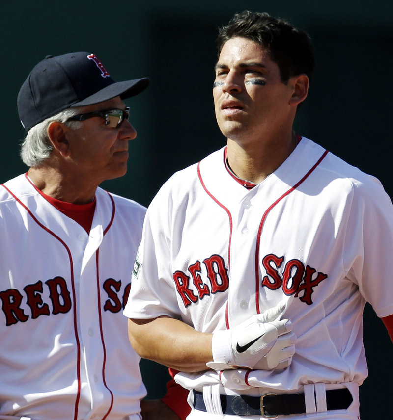 Jacoby Ellsbury, right, with Manager Bobby Valentine, played just seven games before being sidelined.