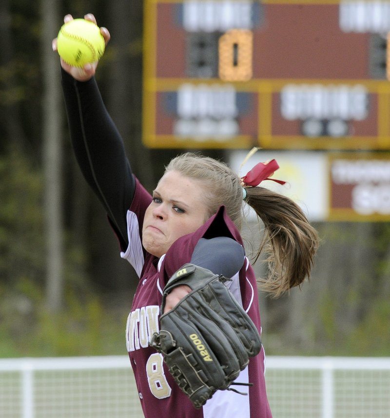 In her four years at Thornton Academy, Julia Geaumont pitched every inning of every game. She'll continue her softball career at Bowdoin.
