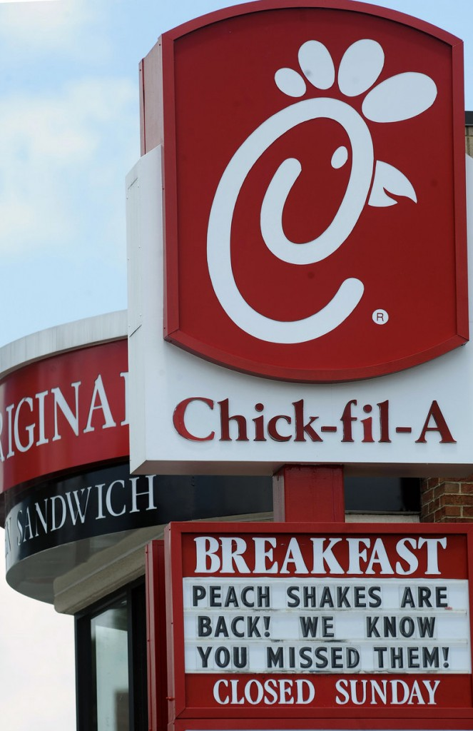 Photo shows a Chick-fil-A fast food location in Atlanta, one of more than 1,615 restaurants.