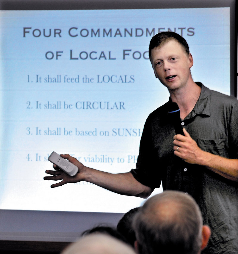 Ben Hewitt, keynote speaker at the 2012 Kneading Conference in Skowhegan spoke Thursday of the economic benefits of regionalized food-based systems.