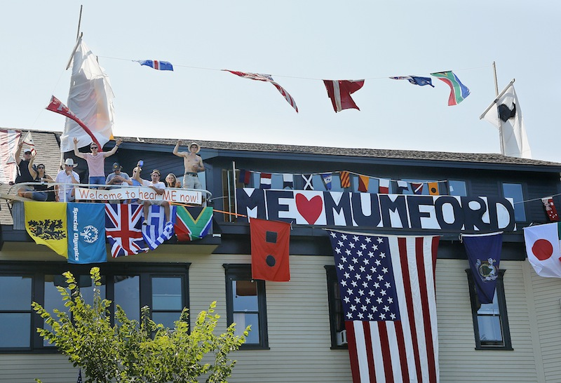 Friends helped turn the home of Nance Monaghan into a boat in hopes of winning a house-decorating contest on Munjoy Hill for the