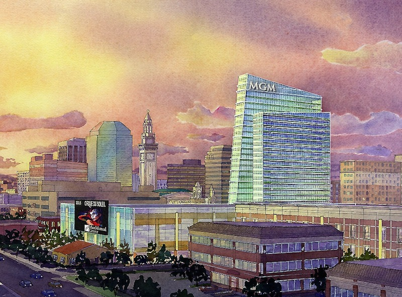 This artist rendering provided by MGM Resorts International via The Republican on Wednesday, Aug. 22, 2012, shows part of a proposed casino complex in Springfield, Mass. The complex would be built on 10 acres heavily damaged by a tornado that hit the city in June 2011. The proposal includes a 250-room hotel, 89,000 square feet of gambling space and 70,000 square feet of retail and restaurant space. (AP Photo/MGM Resorts International via Springfield Republican)