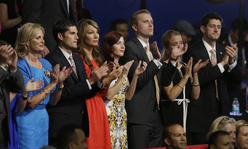 Republican vice presidential nominee, Rep. Paul Ryan along with Ann Romney, wife of U.S. Republican presidential nominee Mitt Romney, far left, applaud during Florida Senator Marco Rubio's speech at the Republican National Convention in Tampa, Fla., on Thursday, Aug. 30, 2012. (AP Photo/Lynne Sladky)