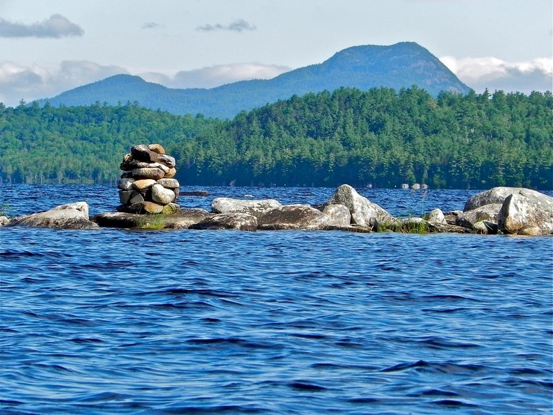 A visit to Sebec Lake not only affords views of Borestone Mountain in the distance, but also many other interesting sites such as this cairn in the middle of the lake.