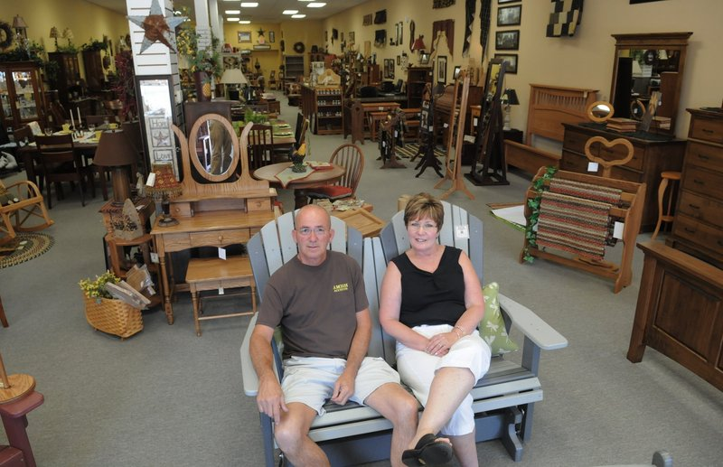 Though not Amish themselves, Bud and Mary Anne Winovich, owners of Amish Accents in Monroeville, Pa., sell authentically made Amish furniture.