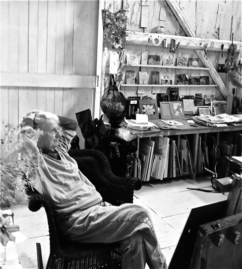 "Painter Lois Dodd in her Cushing studio. The exhibition ""Lois Dodd and Her Students"" at the Firehouse Center for the Falcon Foundation in Damariscotta illuminates her high standards as a teacher."