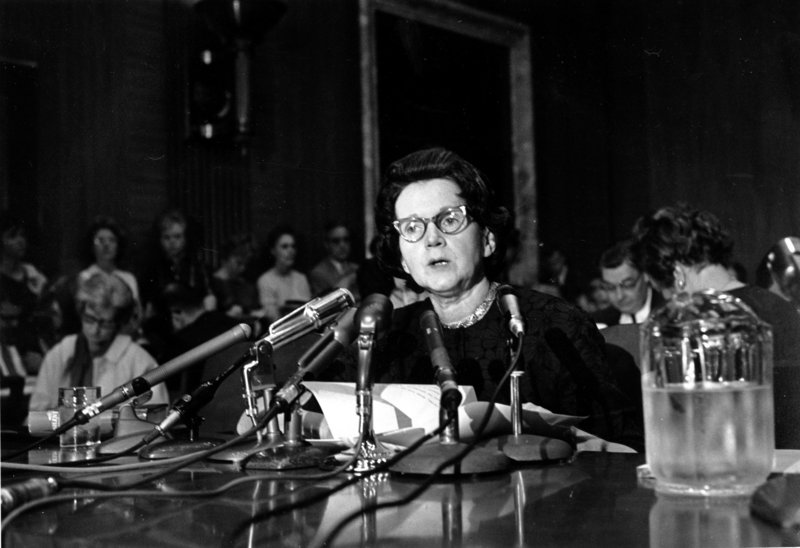 """Rachel Carson, whose book """"Silent Spring"""" led to scrutiny of pesticides, testifies before a Senate subcommittee in Washington, D.C., on June 4, 1963. She urged Congress to curb aerial spraying and the sale of chemical pesticides."""