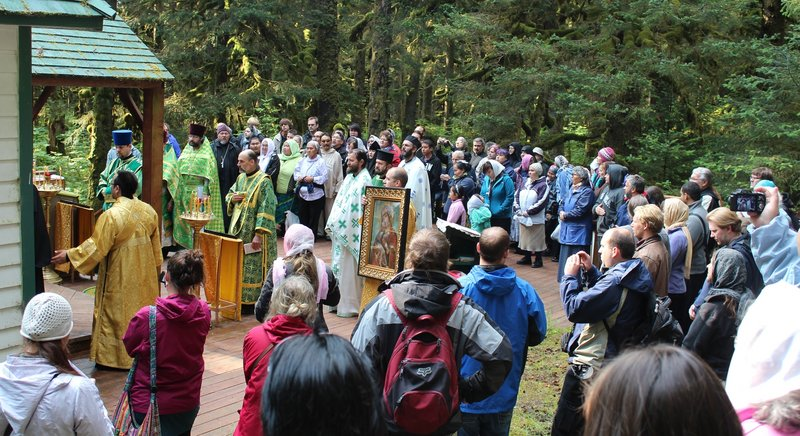 Pilgrims gather at the chapel of Saints Sergius and Herman of Valaam on Spruce Island, Alaska, on Wednesday, the 42nd anniversary of the canonization of St. Herman of Alaska.