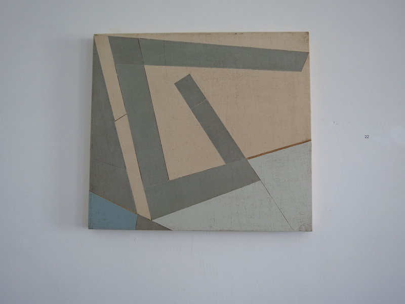 """""""Pliers,"""" top, by Duane Paluska, acrylic, canvas and wood."""