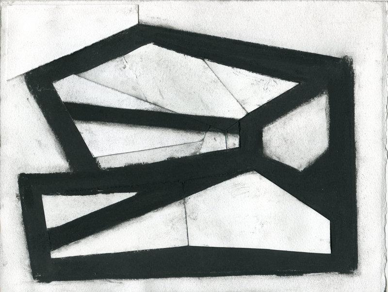 """Blackwork 6,"" by Ken Greenleaf, charcoal and collage on paper"