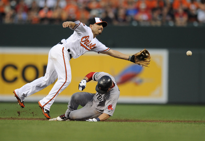 Boston's Nick Punto slides safely into second following a wild pitch in the second inning of Thursday's 6-3 win over Baltimore. Orioles' second baseman stretches for the throw.