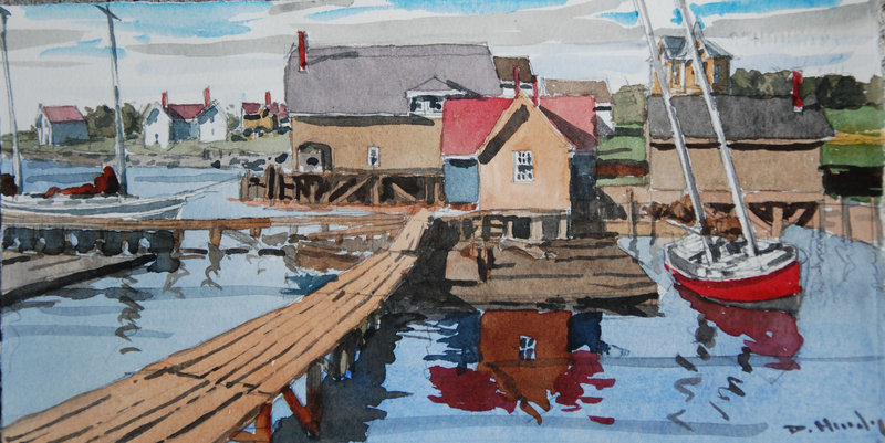 """""""Old Kennebunk River Front,"""" above, by DeWitt Hardy."""