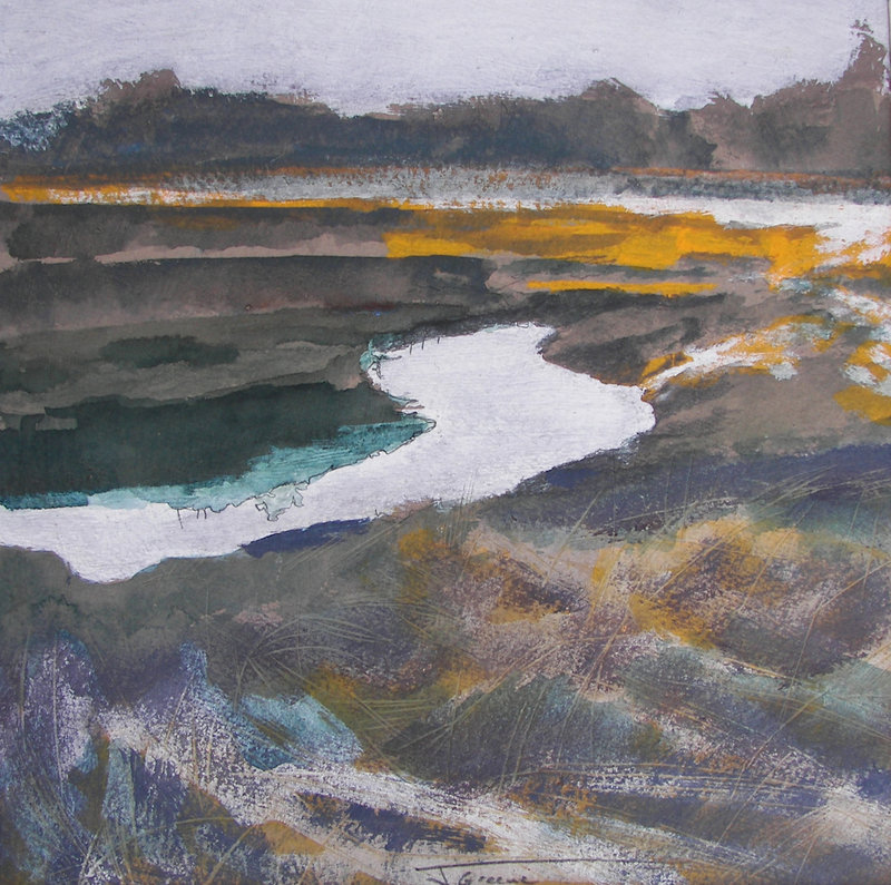 """Portland Marsh,"" mixed media on paper by Jeremy Greene"