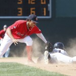 Xander Bogaerts tags out Binghamton's Eric Campbell on a stolen-base attempt. Sea Dogs catcher Christian Vazquez threw out two base stealers, and has caught more than 40 percent of opposing base stealers this season in 91 total games in high Class A and Double-A.