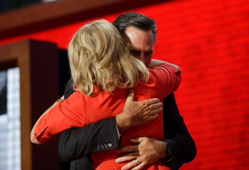 Republican presidential nominee Mitt Romney hugs his wife, Ann, on stage at the Republican National Convention in Tampa, Fla. on Tuesday following her prime-time speech.