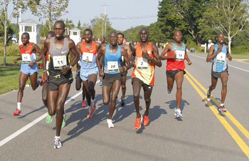 Runners begin Saturday's Beach to Beacon in Cape Elizabeth.