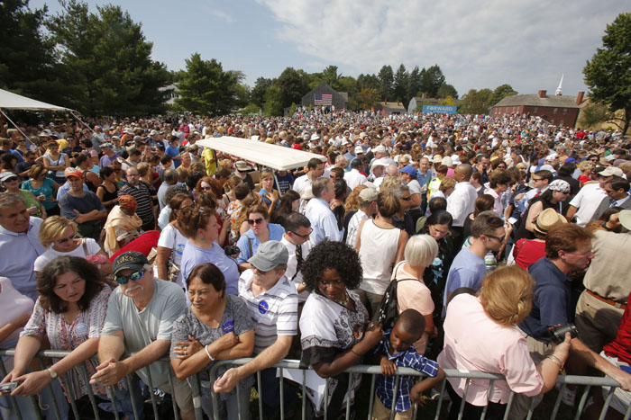 Supporters fill a field at the Strawbery Banke Museum in Portsmouth, N.H., hours before President Obama's speech on Friday.
