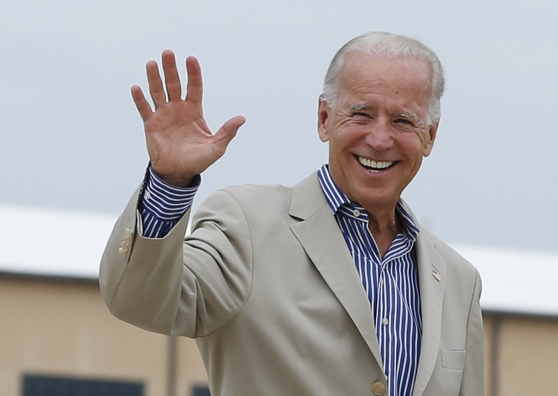 Vice President Joe Biden boards Air Force Two on Sunday at Andrews Air Force Base, Md., en route to York, Pa. As Democrats prepare for their convention in Charlotte, N.C., the GOP is casting the 69-year-old former Delaware senator as a gaffe-prone crazy uncle who's hung around the political scene too long.