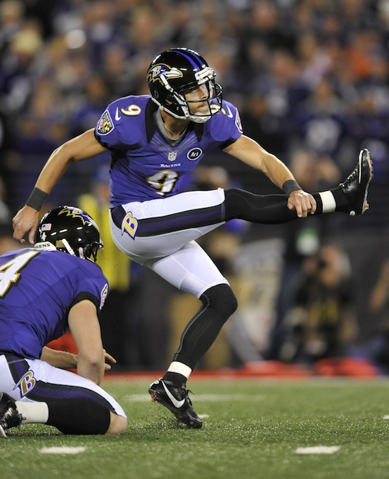 Baltimore Ravens kicker Justin Tucker watches his game-winning field goal in the final moments of an NFL football game against the New England Patriots in Baltimore, Sunday, Sept. 23, 2012. Baltimore won 31-30. (AP Photo/Gail Burton) NFLACTION12;