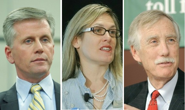 From left to right: Charlie Summers, Cynthia Dill and Angus King