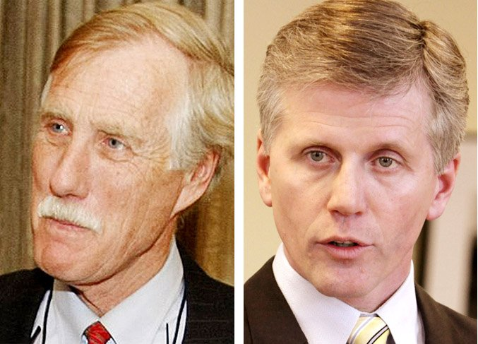 Independent U.S. Senate Candidate Angus King, left, and Republican candidate Charlie Summers