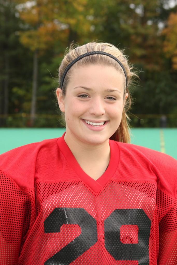 Kayla Lessard, co-captain with Cathleen Smith of the Bowdoin field hockey team, is also the goalie on the women's hockey team.