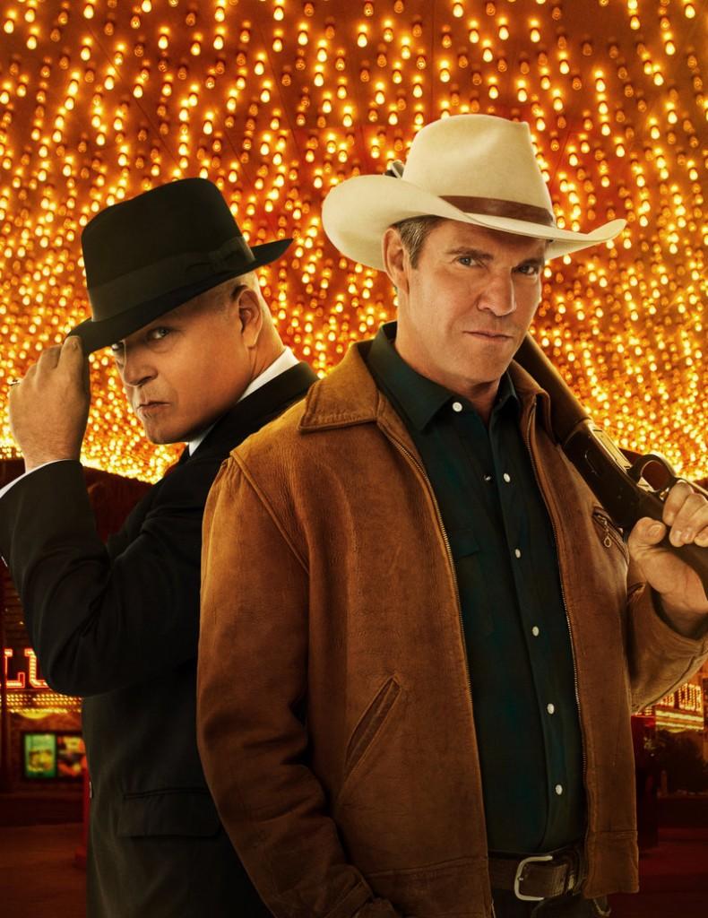 """Michael Chiklis, left, and Dennis Quaid in CBS's """"Vegas."""""""