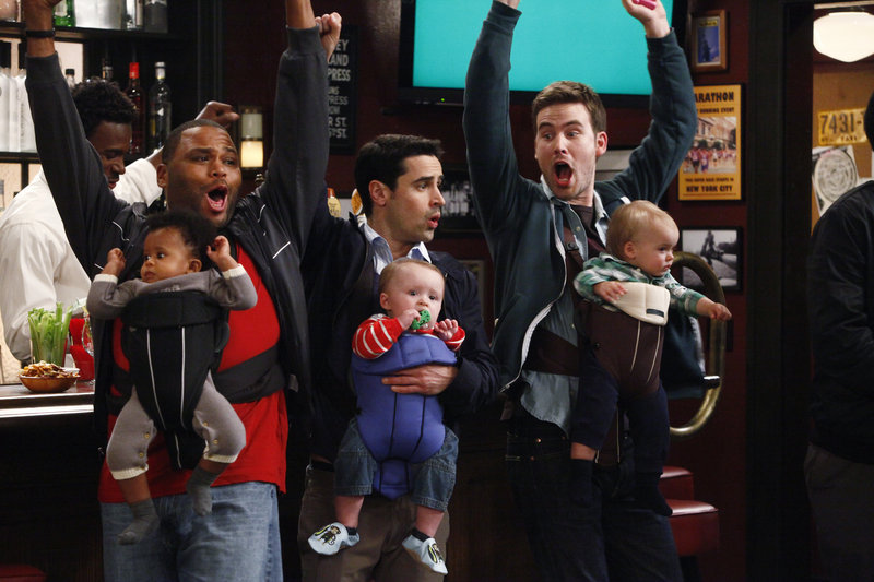 """Anthony Anderson, left, Jesse Bradford and Zach Cregger in NBC's """"Guys With Kids"""""""