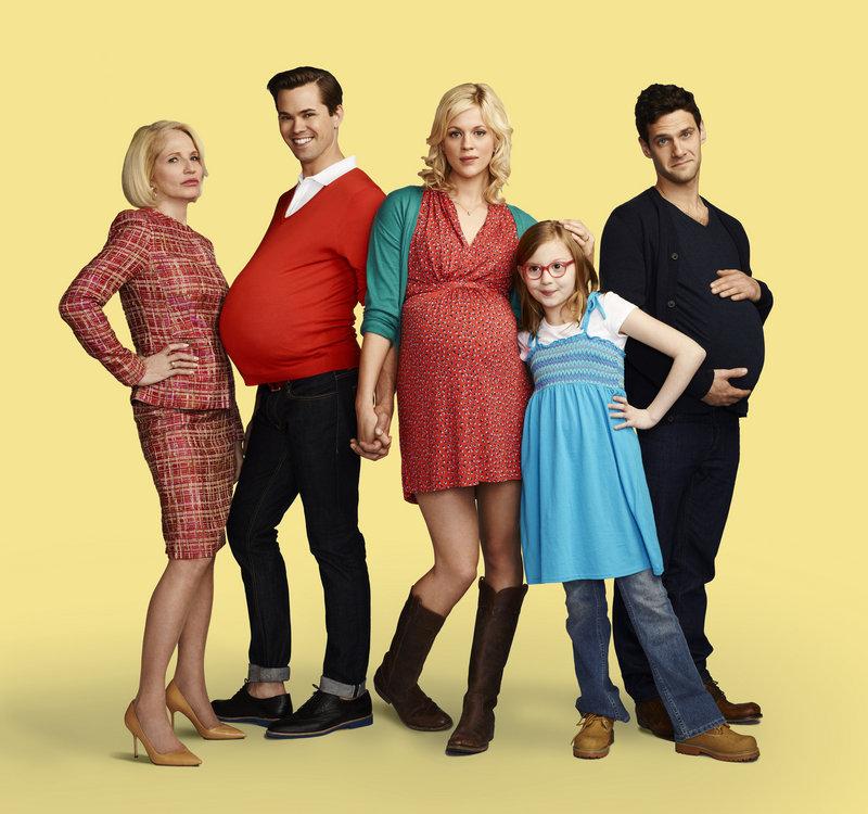 "Ellen Barkin, Andrew Rannells, Georgia King, Bebe Wood and Justin Bartha in NBC's ""The New Normal."""