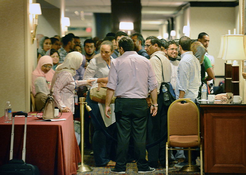 "Muslims line up for the recent speed-dating session at the annual Washington convention of the Islamic Society of North America, where one speed-dater said her favorite question was, ""What is your favorite vegetable?"""