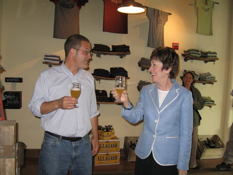 Rob Tod of Allagash and Sen. Susan Collins during the senator's brewery tour.