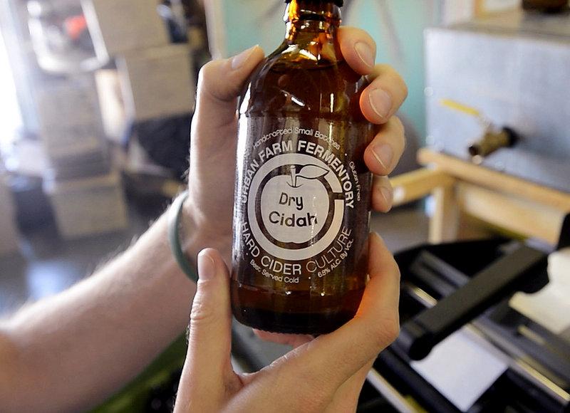 A bottle of Urban Farm's Dry Cidah.